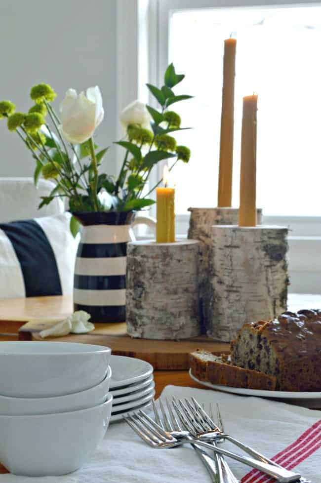 These rustic wood candleholders are an easy DIY. They're made from birch and can hold a taper and a tea light. | www.chatfieldcourt.com