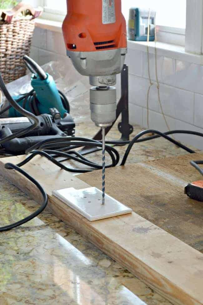 How to install a barn wood shelf on a subway tiled backsplash. | www.chatfieldcourt.com