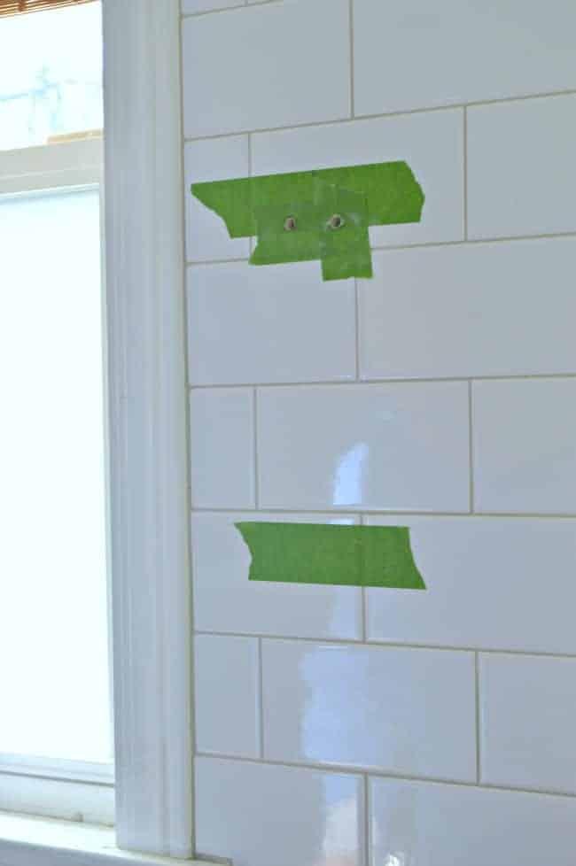 How to install a rustic barn wood shelf on a tiled backsplash. | www.chatfieldcourt.com