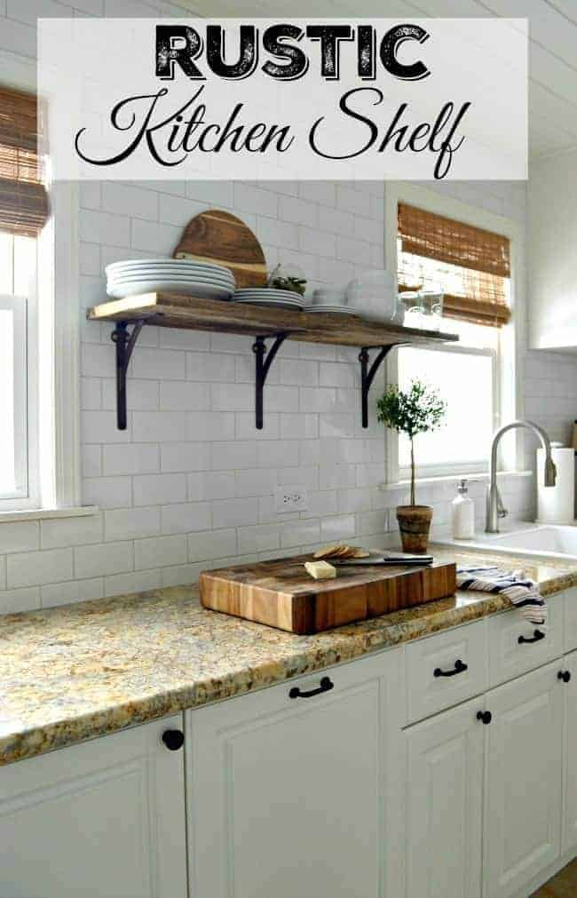 Install a rustic barn wood shelf to add style and functionality to a small kitchen.   chatfieldcourt.com