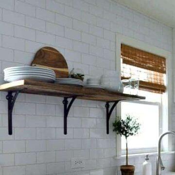 A kitchen shelf and a window