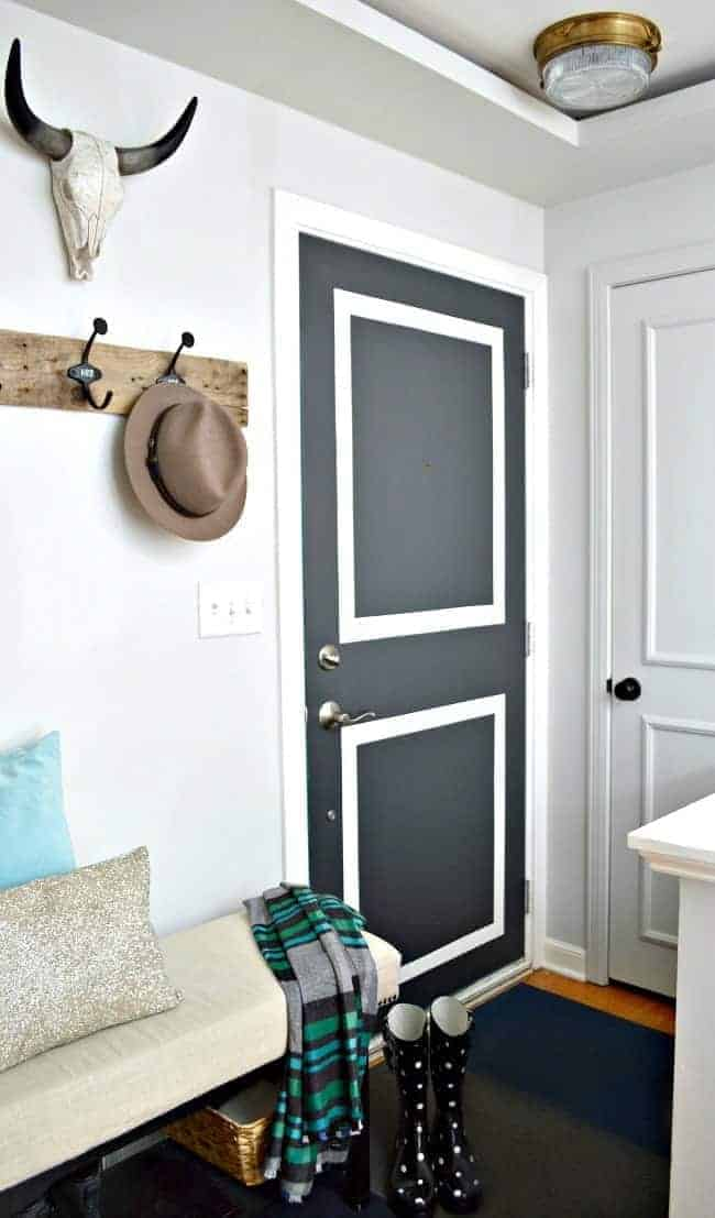 Entryway door painted with BM Wrought Iron. | chatfieldcourt.com
