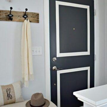 Dark gray painted front door