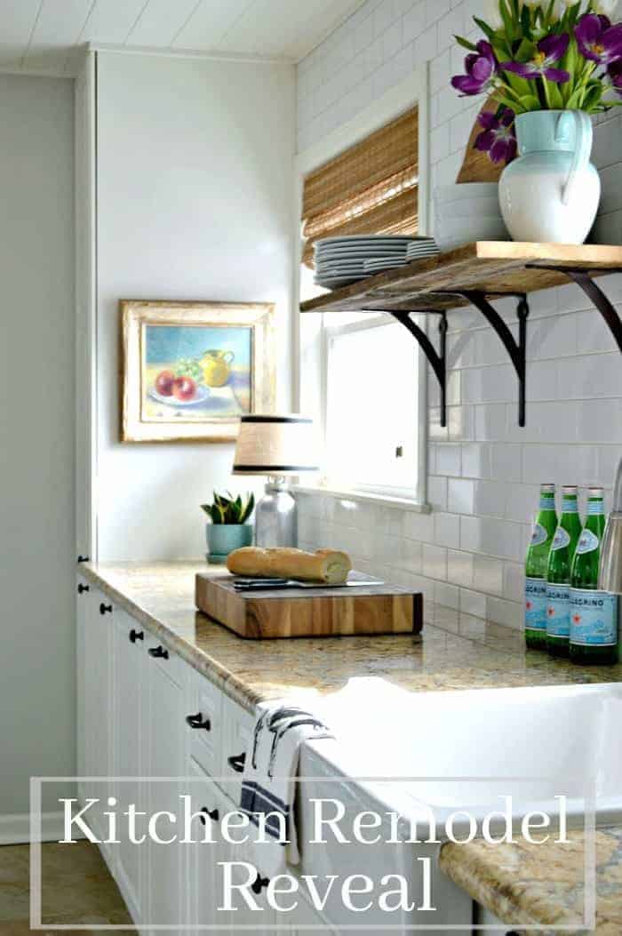 A DIY small galley kitchen remodel done on a serious budget and all on our own, from countertops to plank ceiling. www.chatfieldcourt.com