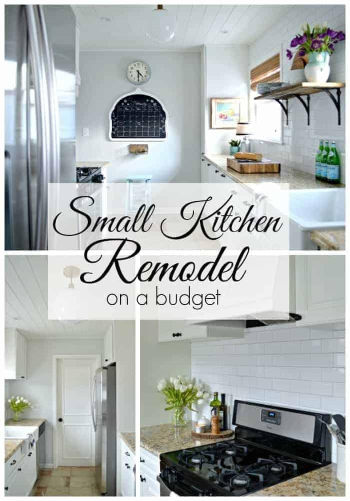 collage of white galley kitchen remodel
