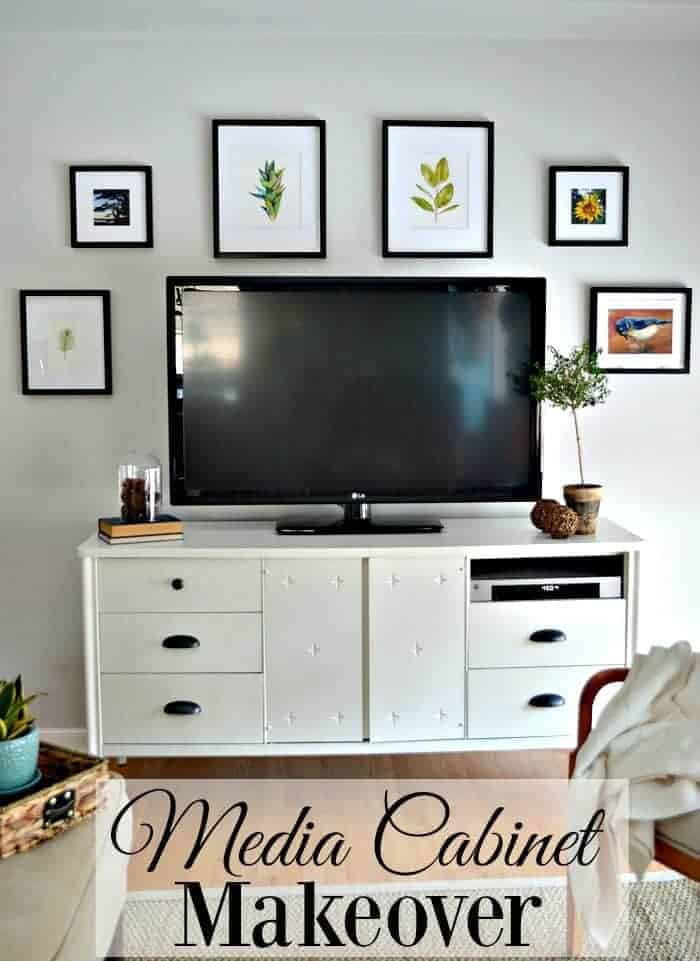 Giving a media cabinet a makeover, for the second time, using Benjamin Moore White Dove and cup pulls from Lowes. | chatfieldcourt.com