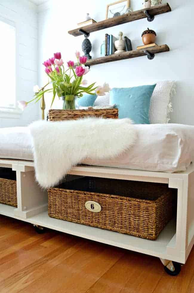 Diy Full Size Platform Bed Frame With Storage From Baskets And Wheels