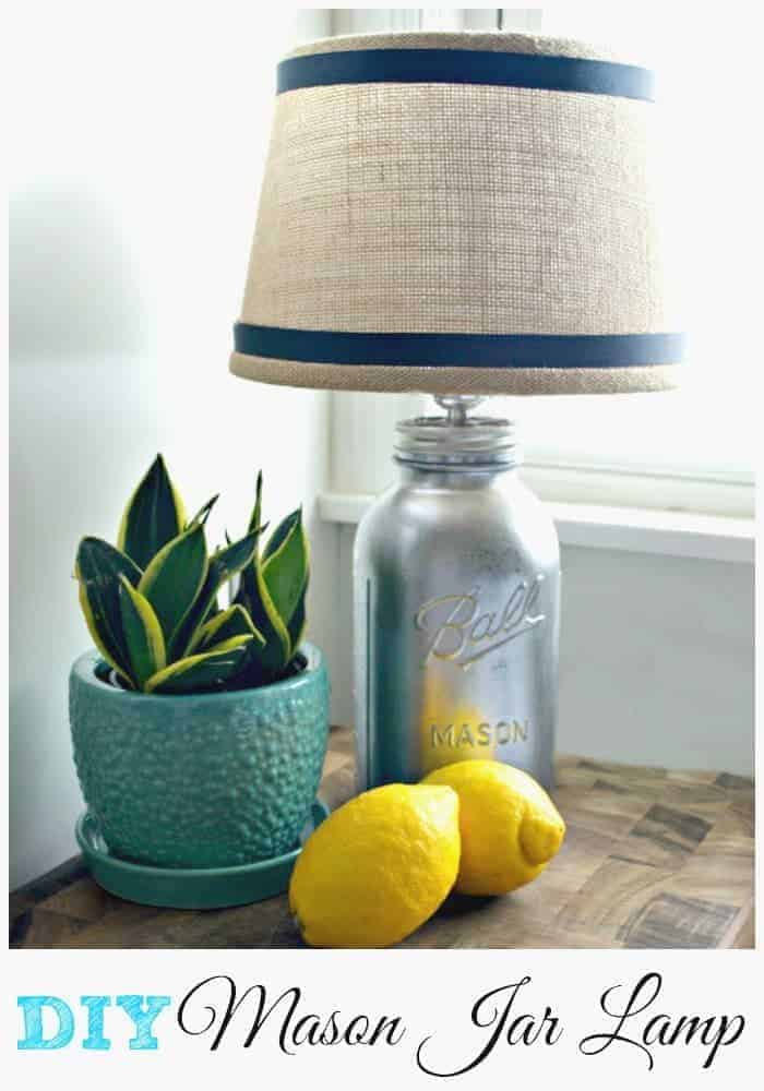DIY mason jar lamp using mirror effect spray, a light kit and a burlap shade. A pretty addition to a newly remodeled kitchen. | chatfieldcourt.com