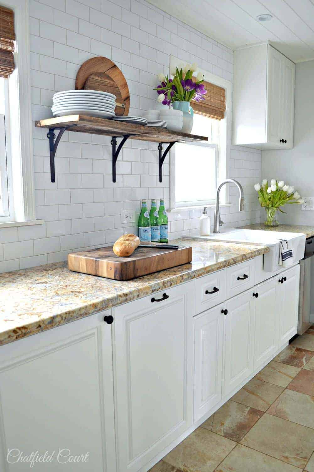 Kitchen remodel and diy plank ceiling on remodelaholic for Diy small kitchen remodel