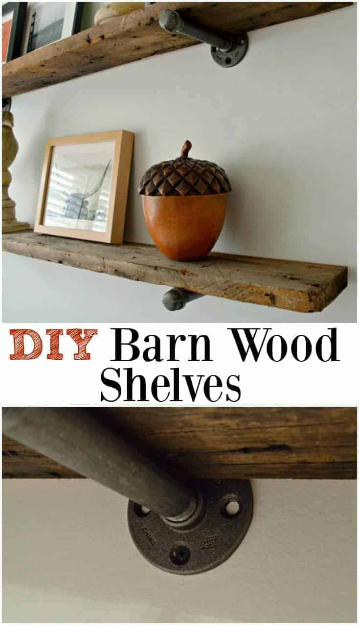 Installing DIY barn wood shelves with black pipe brackets to give a room a rustic, industrial vibe.