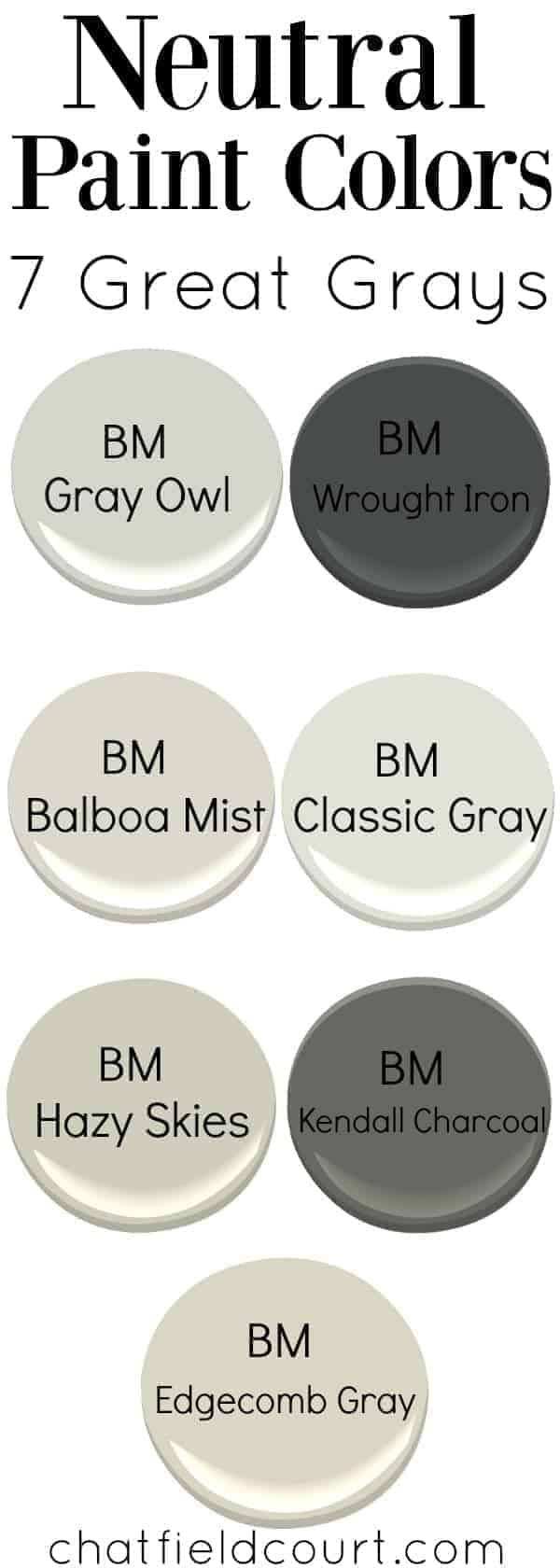 samples of 7 different gray paint colors, and large graphic