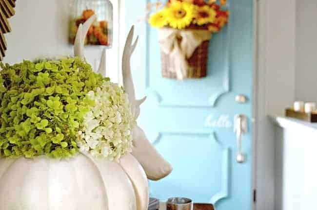 So easy! A 10 minute fall decor project using a faux pumpkin and hydrangeas. chatfieldcourt.com