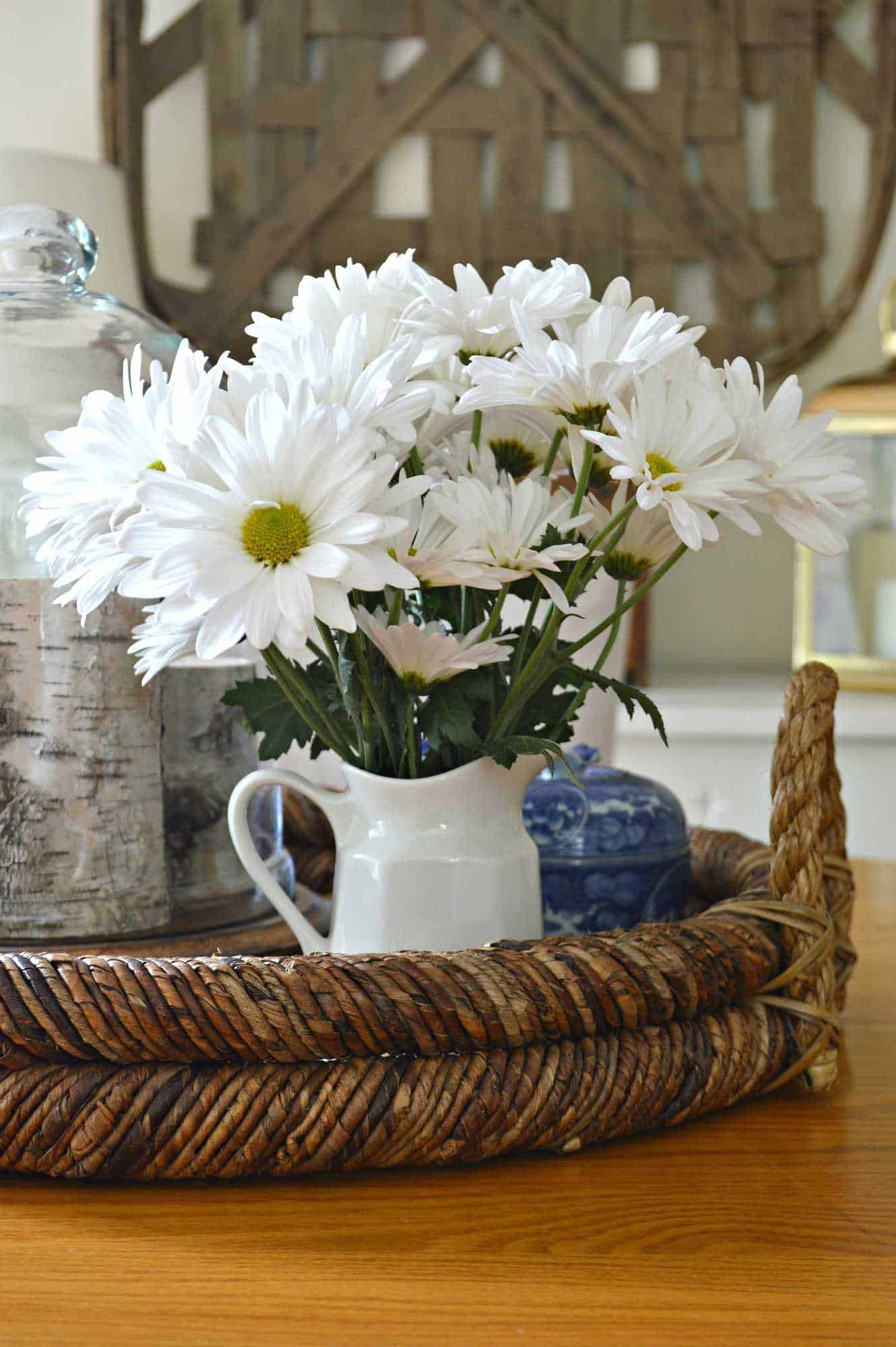 Beautiful vignette using color, texture and fresh flowers. chatfieldcourt.com