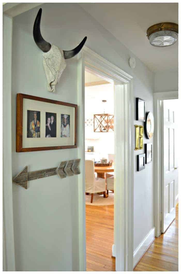 Small hallway redo using gray paint and items from around the house. A big impact for little money. chatfieldcourt.com