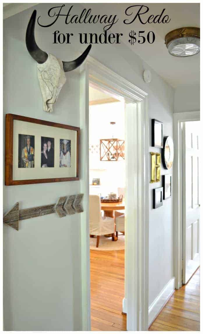 A small hallway redo using gray paint, some farmhouse decor and lots of family photos. www.chatfieldcourt.com