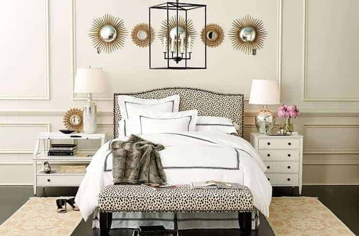 Mismatched bedside lamps. Photo from Ballards Designs.