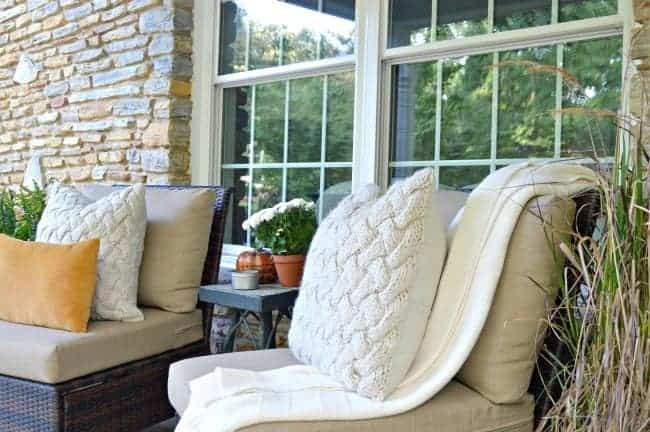 A fall front porch tour with a cozy seating area. chatfieldcourt.com