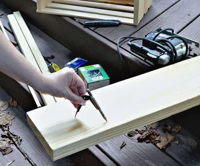 The Home Depot DIH Workshop - Rustic Wheelbarrow marking and measuring