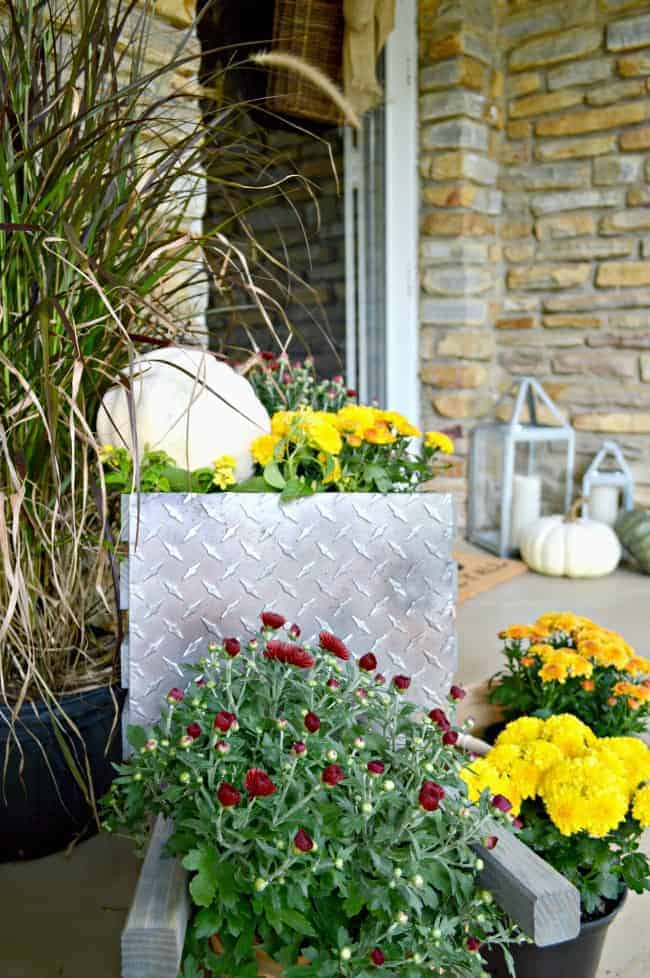 A simple fall front porch tour with rustic, industrial wheelbarrow, mums and pumpkins. chatfieldcourt.com