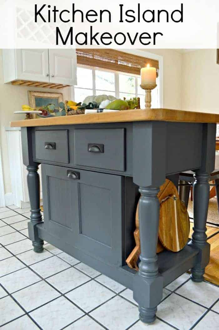 Easy DIY kitchen island makeover with gray paint. www.chatfieldcourt.com