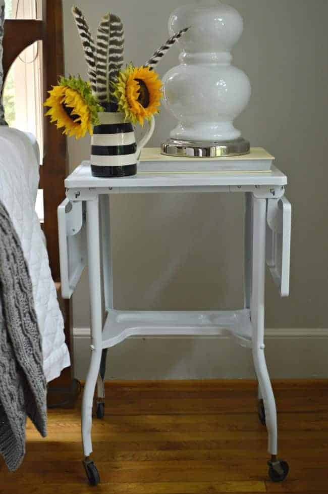 Turning a vintage typewriter cart into a stylish industrial looking nighstand. A quick, cheap and easy DIY. chatfieldcourt.com
