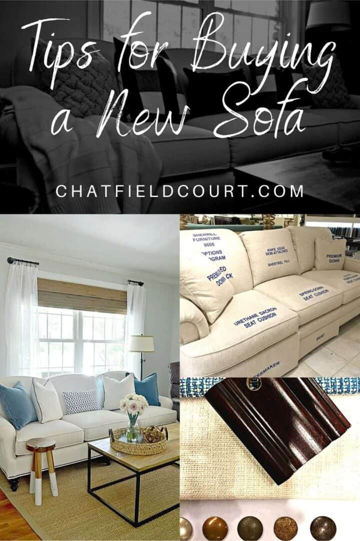 collage of new living room sofa and fabric samples from shopping