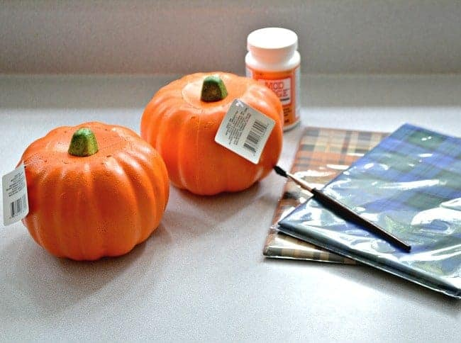An easy DIY using a Dollar Store pumpkin and pretty plaid tissue paper. chatfieldcourt.com