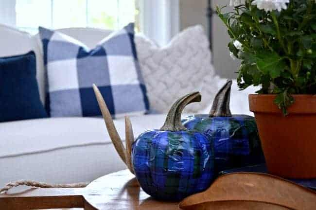An easy and inexpensive DIY using a Dollar Store pumpkin and pretty plaid tissue paper. chatfieldcourt.com