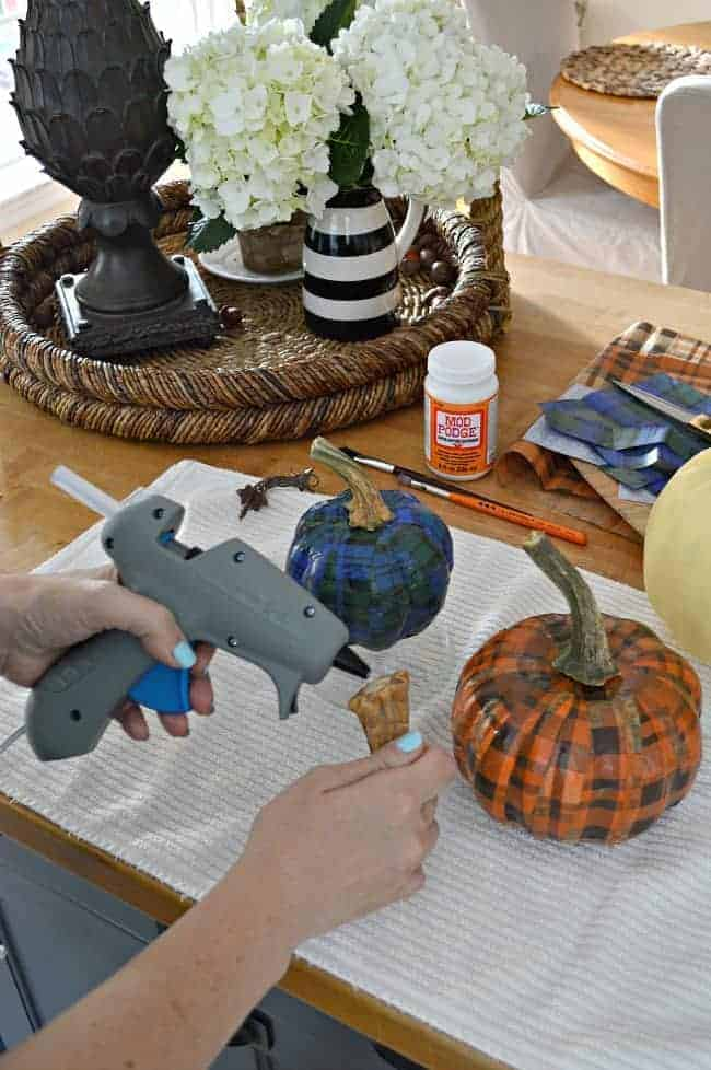 An easy DIY using a dollar store pumpkin and plaid tissue paper. chatfieldcourt.com