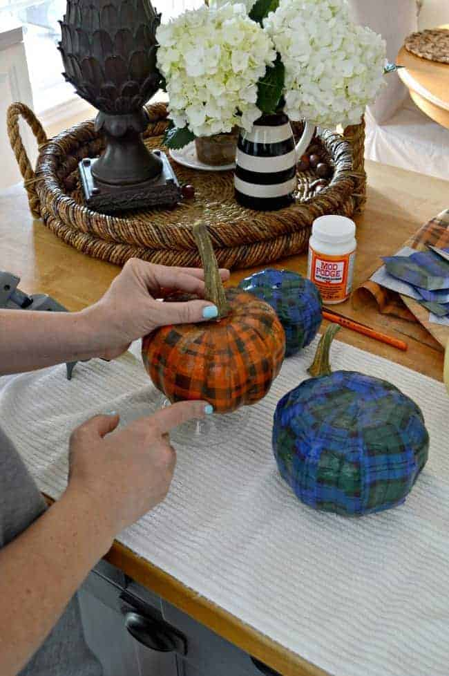 A cheap and easy DIY using a Dollar Store pumpkin and plaid tissue paper. chatfieldcourt.com