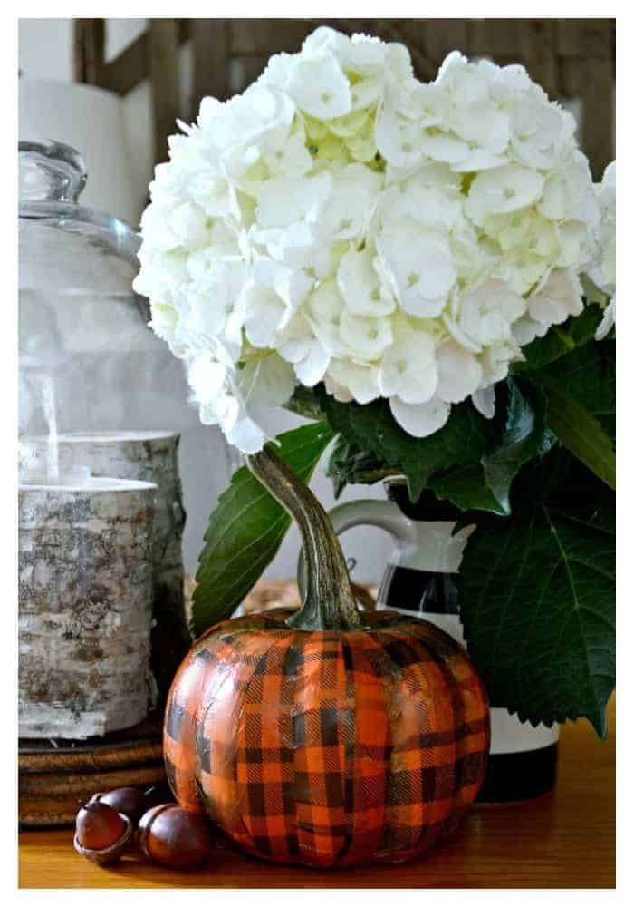 DIY dollar store plaid pumpkin. A fun and easy tutorial.