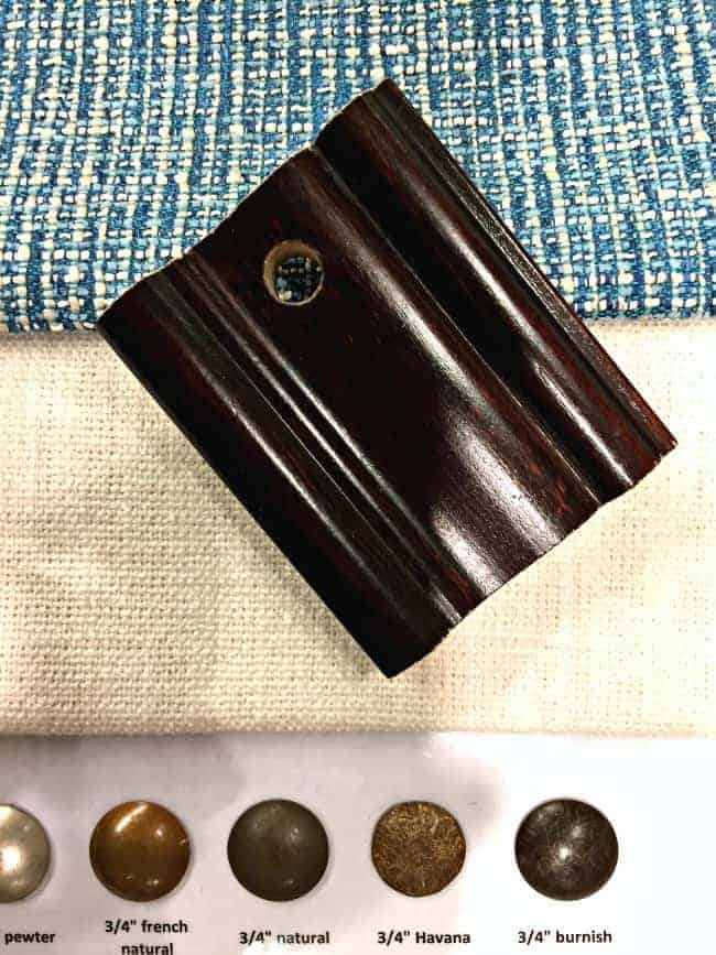 upholstery samples with a wood leg sample and upholstery tack choices