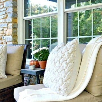pillows on chairs on fall front porch