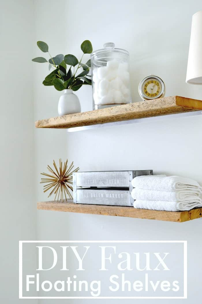 DIY faux floating shelves in the bathroom for extra storage. www.chatfieldcourt.com