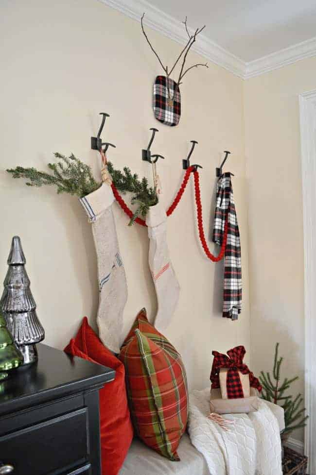A fun DIY craft project to add a little holiday decor to your home using fabric and branches from your yard. | www.chatfieldcourt.com