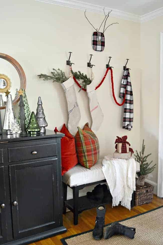 A rustic and simple cozy Christmas cottage decorated in red with touches of gold. www.chafieldcourt.com