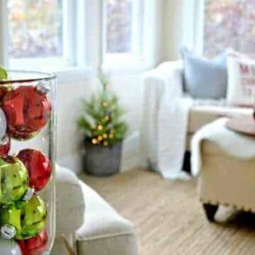 Christmas decor in a sunroom
