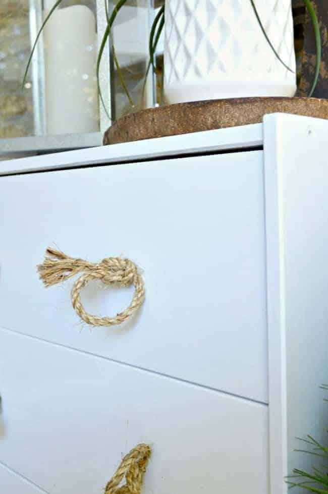 IKEA Rast hack - adding jute handles to the IKEA Rast to turn it into an outdoor storage cabinet.