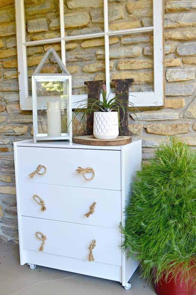 IKEA Rast hack - turn the IKEA Rast into an outdoor storage cabinet with wheels.
