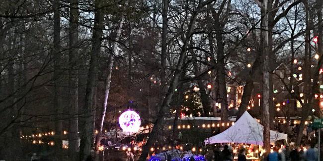 Hundreds of lighted Christmas balls hung throughout the neighborhood. www.chatfieldcourt.com