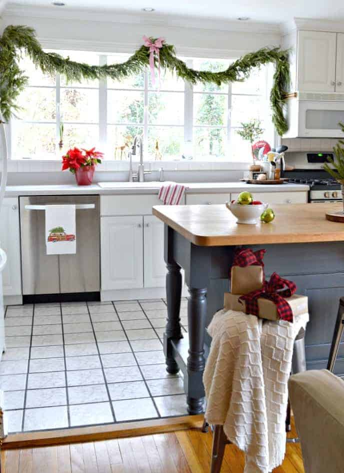 A kitchen decorated for Christmas