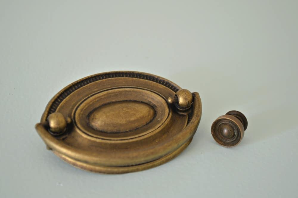antique brass hardware for DIY dresser makeover