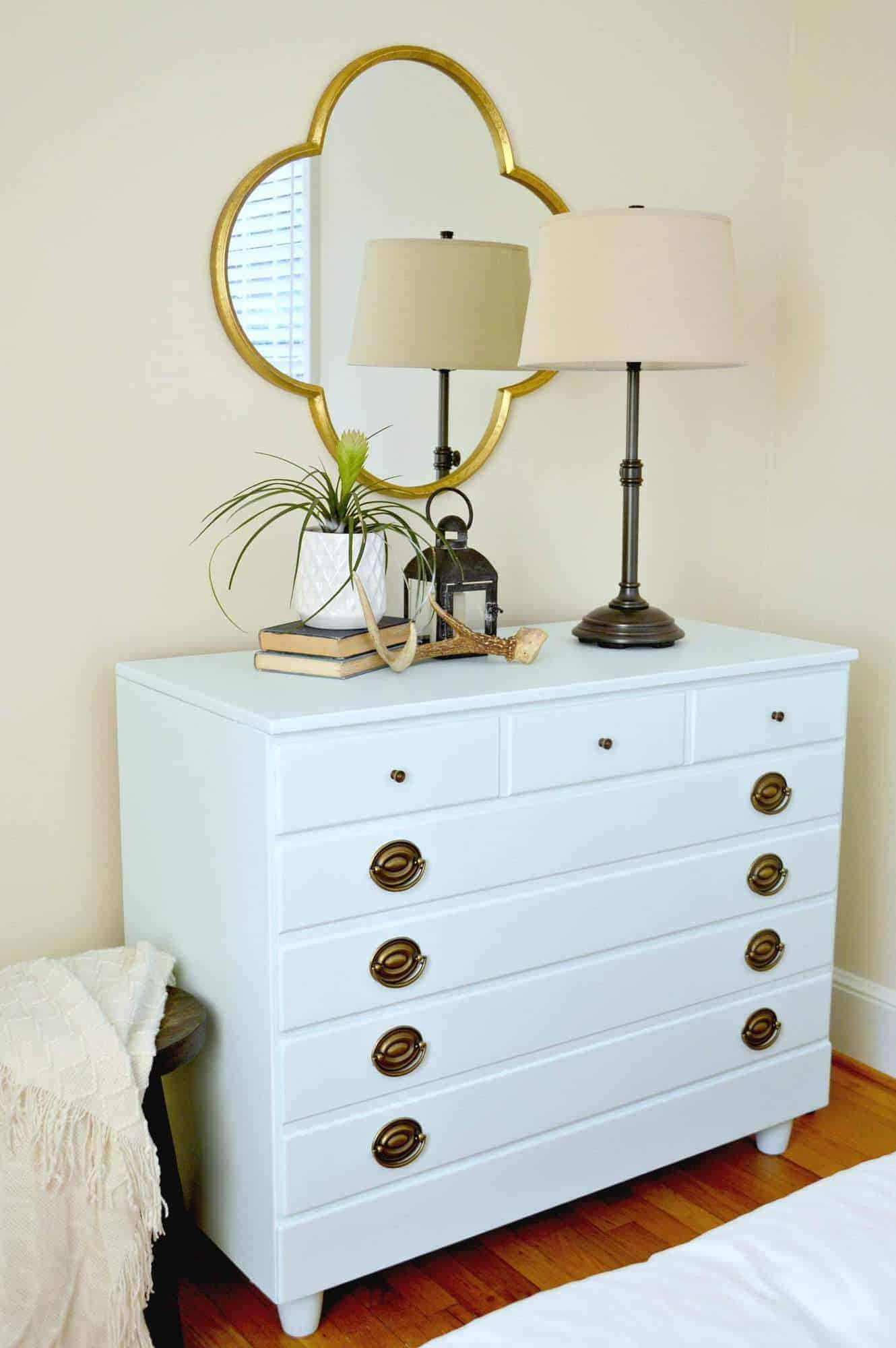 An easy DIY project taking a Goodwill dresser from drab to fab in one weekend with Behr paint. Chatfield Court