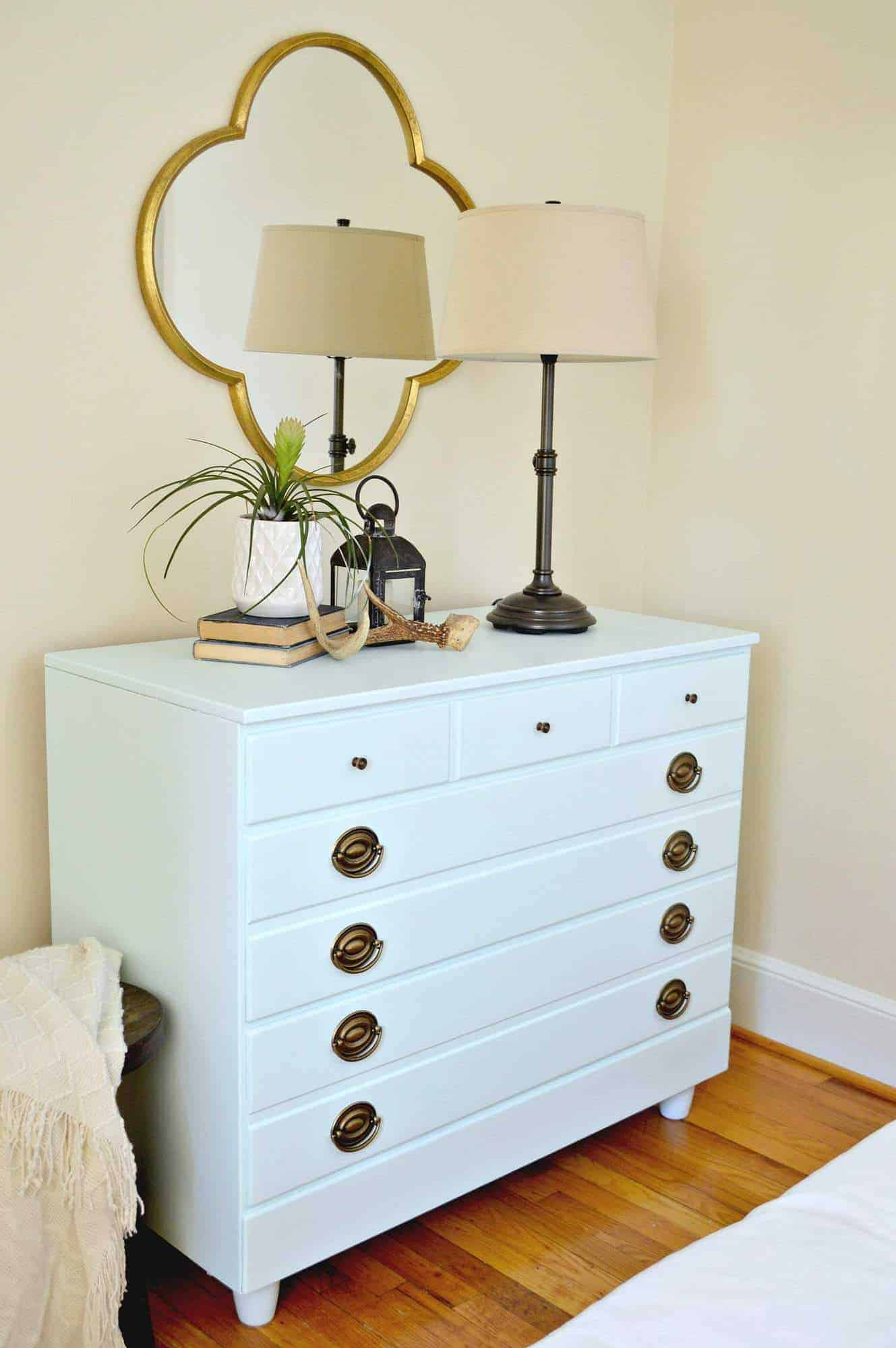 Turning an old dresser from Goodwill into a beautiful furniture piece for a guest bedroom.