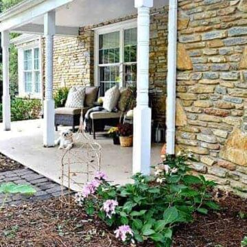 Stone cottage front porch