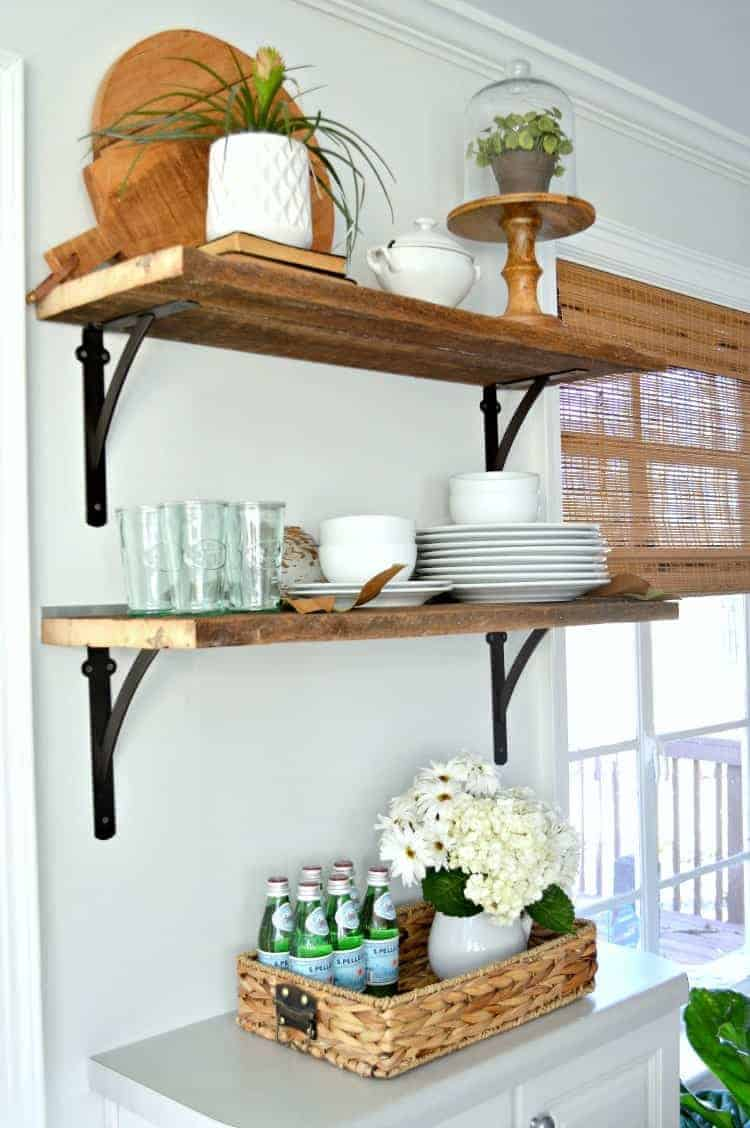Open Shelving in the Kitchen for less than $50, shared by Chatfield Court at The Chicken Chick's Clever Chicks Blog Hop
