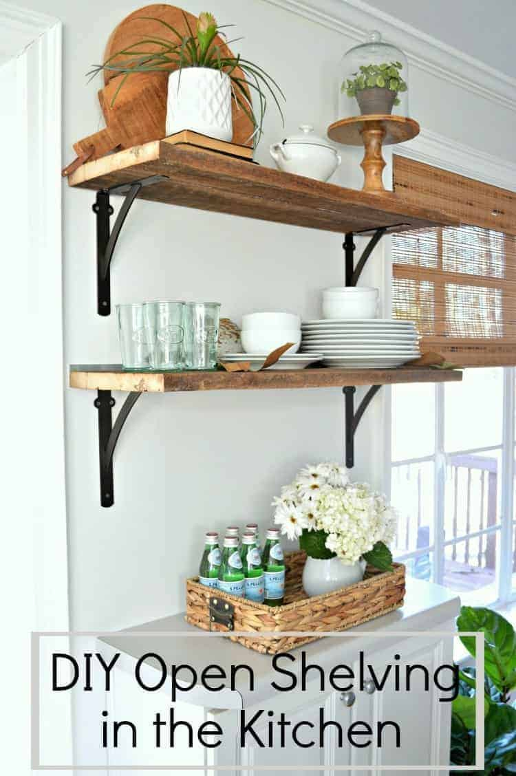 Easy DIY open shelving n a kitchen and dining area for under $50. A great and inexpensive way to add storage to a small space. Chatfield Court