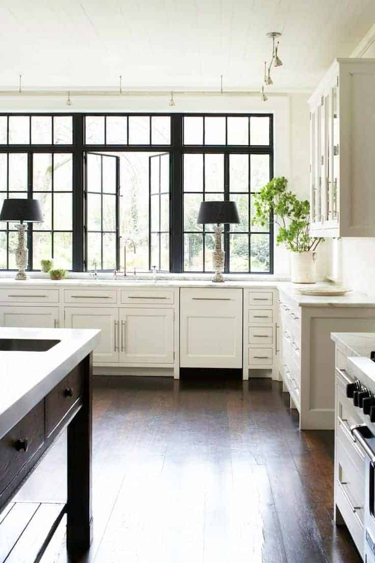 Painted black window trim in the kitchen. www.chatfieldcourt.com