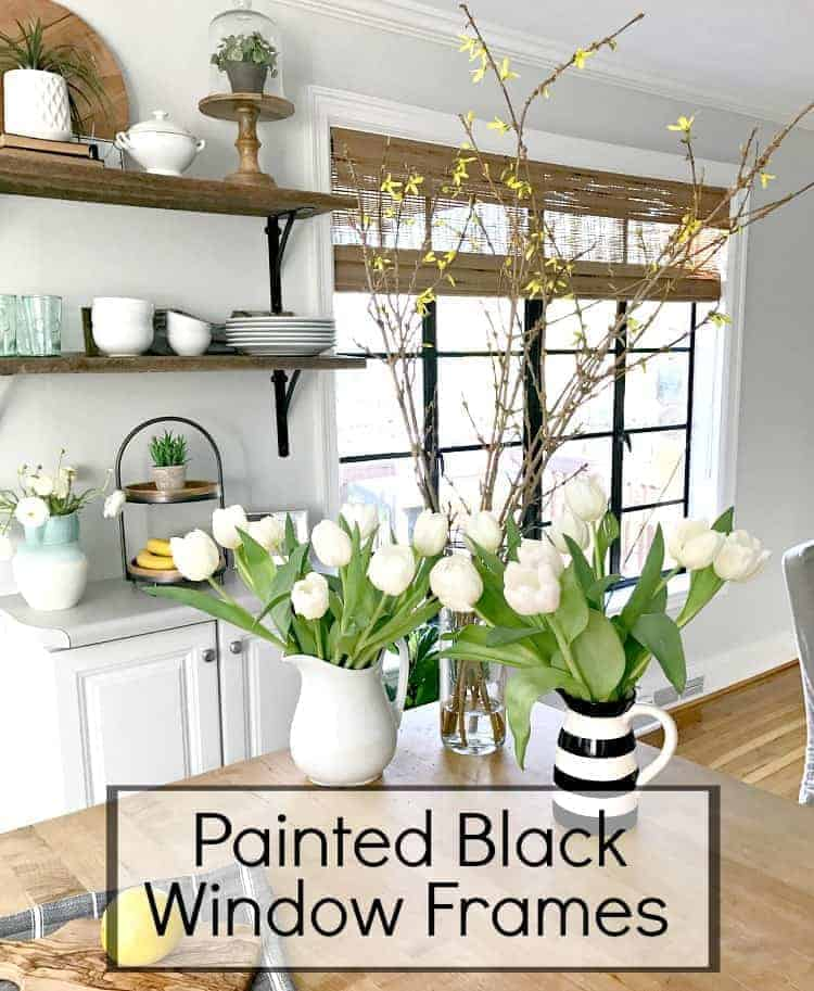 Painting old casement windows in a kitchen and dining room black to add french farmhouse style. | Chatfield Court