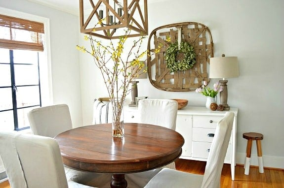 small dining room with wood table